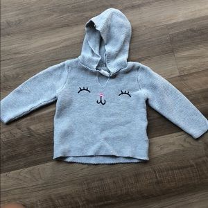 Baby girl cozy gray knitted sweater w/ cat detail